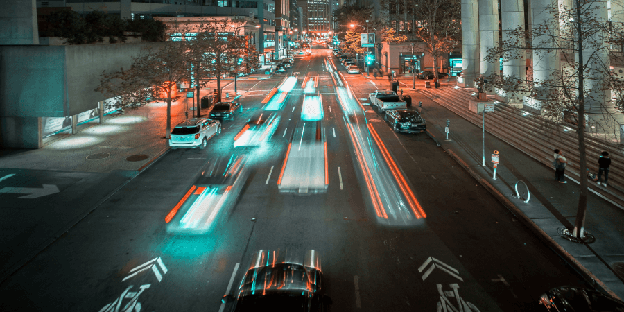 Cars in long exposure at night in traffic